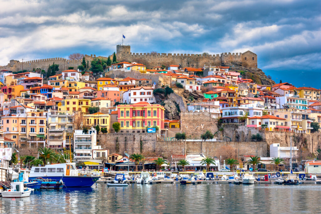 Amazing view of the old town of Kavala, East Macedonia and Thrace, Greece