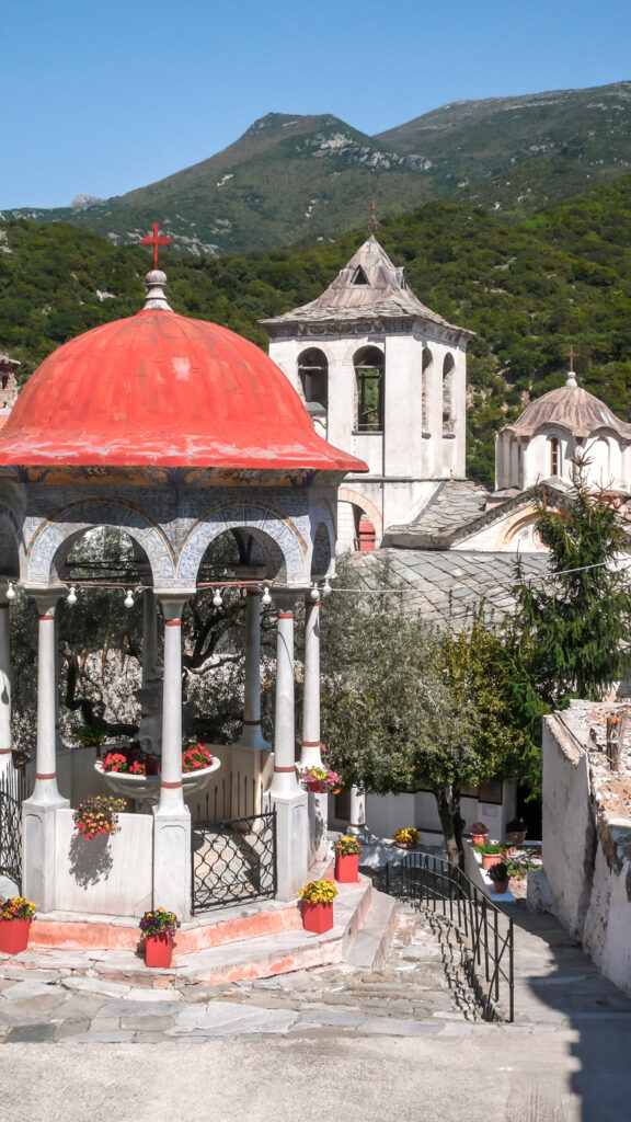 Ancient Monastery of Timiou Prodromou St. John the Baptist near town of Serres, Central Macedonia, Greece