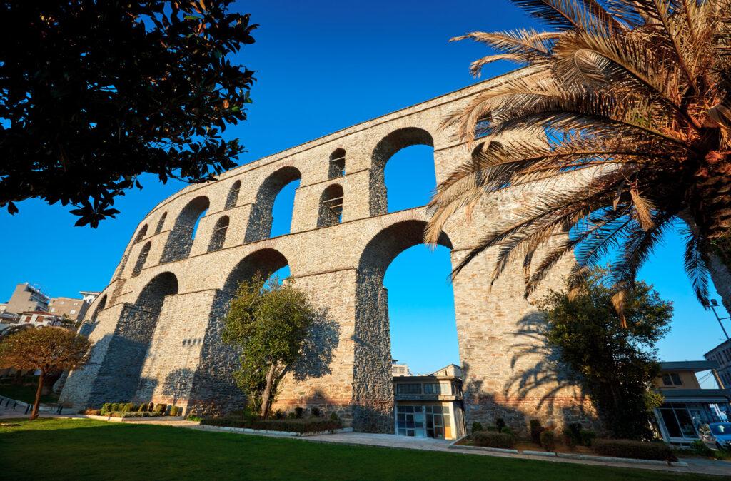 Ancient Roman Aqueduct, Kavala, Greece. View on aqueduct Kamares, Macedonia Greece