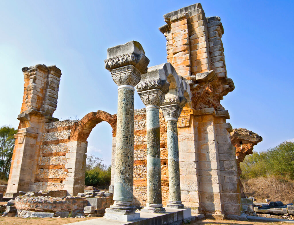 Ancient temple from Filippous archaeological site near Kavala in Macedonia Greece