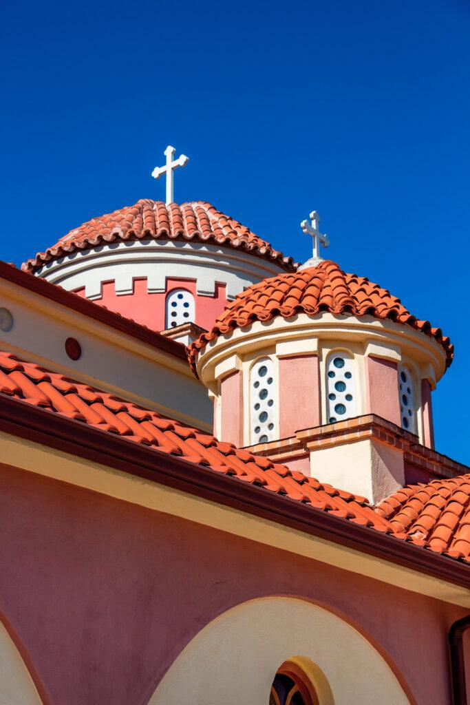 Church of the Holy Trinity, Ieros Naos Agias Triados in the village of Kerkini, Serres regional unit, Greece, architectural detail, exterior partial view