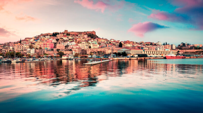 Coloful evening view of Kavala city, the principal seaport of eastern Macedonia and the capital of Kavala, Greece