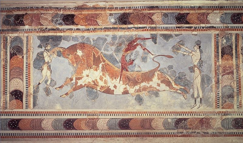 Bull-leaping Fresco, Court of the Stone Spout, Knossos, Crete