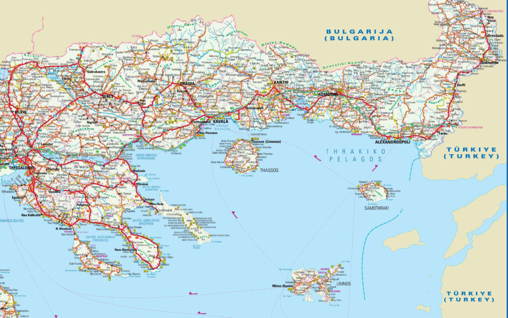 Map of Central and Eastern Macedonia Greece