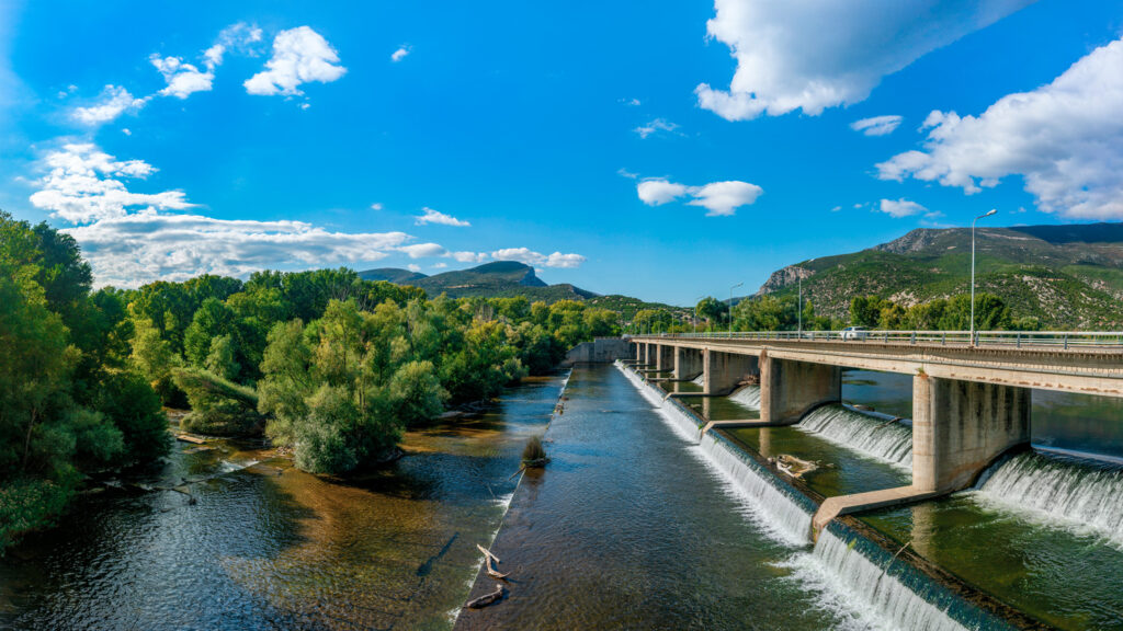 Panoramic view of the river Nestos. One of the largest rivers in Greece, which is mentioned in Ancient Greek History and Greek Mythology.