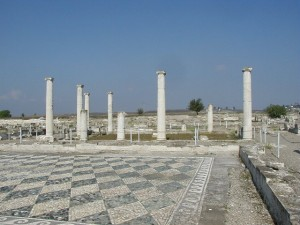 An atrium in ancient Pella with a pebble-mosaic paving, Greece