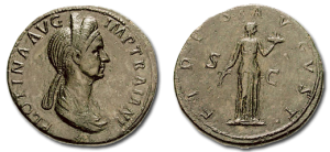 Pompeia Plotina coin (Roman Empress and wife of Roman Emperor Trajan. She was renowned for her interest in philosophy, and her virtue, dignity and simplicity. She was particularly devoted to the Epicurean philosophical school in Athens, Greece)