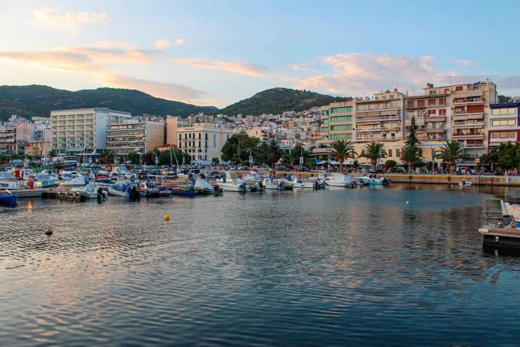 Sailing boats in the harbor of City of Drama in Greece at Sunset, Central Macedonia Greece
