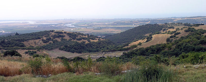 View of the delta of Strymon river from the acropolis of Amphipolis.