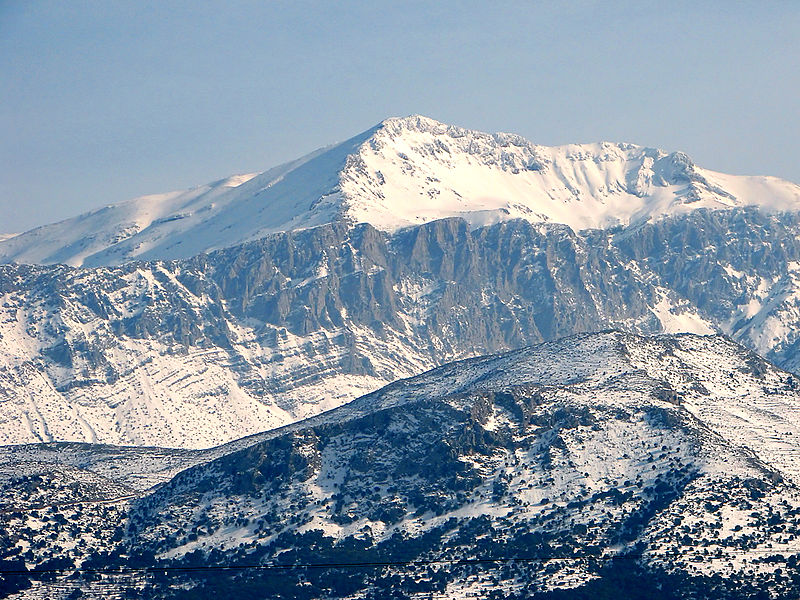 Snow Covered Dikti Summit, Spathi, Crete, Greece