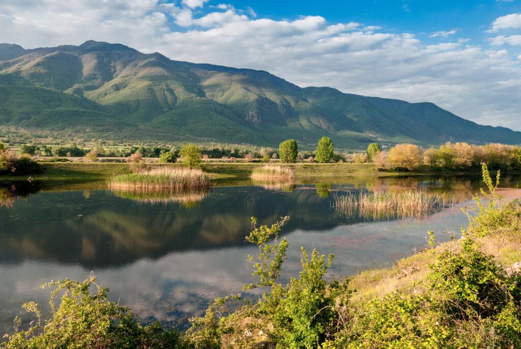 View of  Kerkini Lake at sunset in Serres, Central Macedonia Greece
