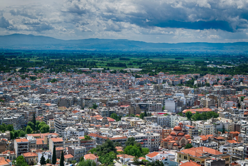 View of Serres city, Central Macedonia Greece.