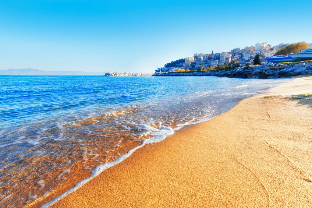 Golden sand beach in Kavala, Macedonia Greece