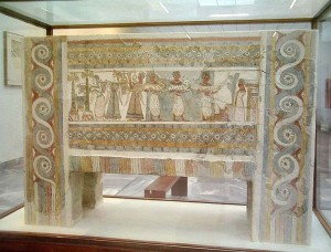 The famous sarcophagus, now exhibited in the Archaeological museum in Heraklion, Crete
