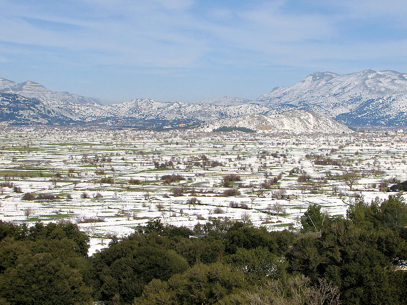 Snow covered Lasithi Plateau, Crete