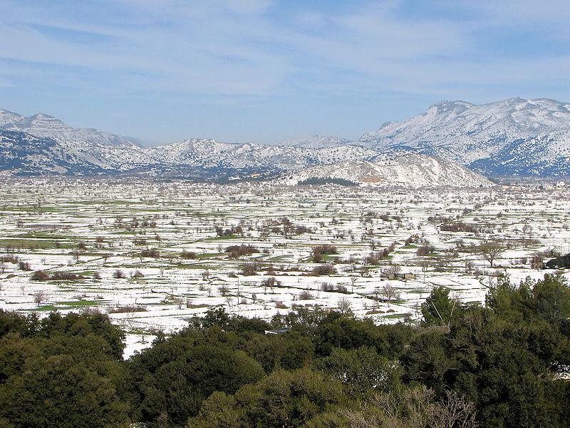 Snowcovered Lasithi Plateau, Crete