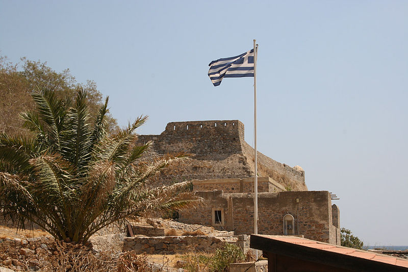 View of the Venetian fortifications at Spinalonga island, Crete