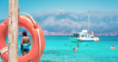 A lifebuoy, symbol of assistance, security, rescue, SOS on Golden Beach in Chrysi island, Crete, Greece.