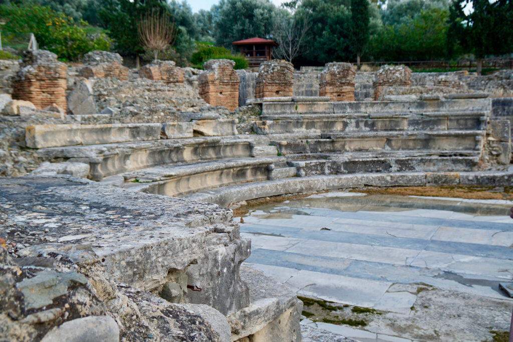 Archaeological site in Gortys, Gortina, Crete, Greece with a little amphitheatre