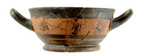 Black-figure skyphos, drinking cup, from a kitchen in the Service Building, Azoria, Crete