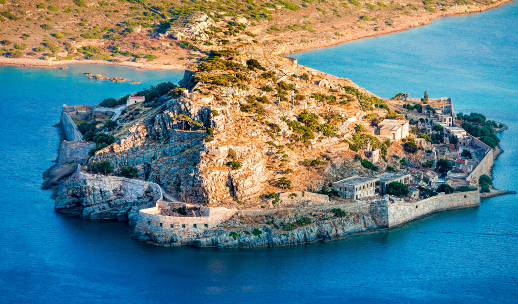 Spinalonga island of the coast of Crete at Elounda, Greece
