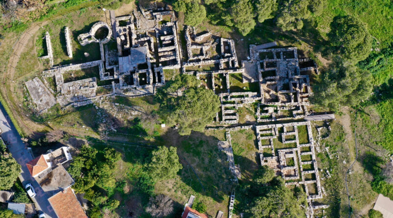 Minoan Archaeological site in Tylissos, Crete Greece form 1600 BC, three houses of rich families