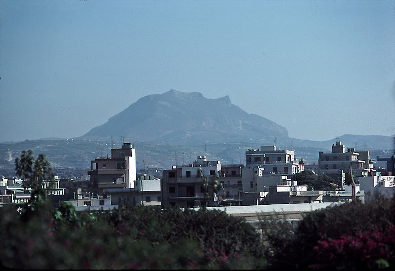 Mt. Juktas seen from Iraklion in 1977. Legend says it is the face of Zeus.