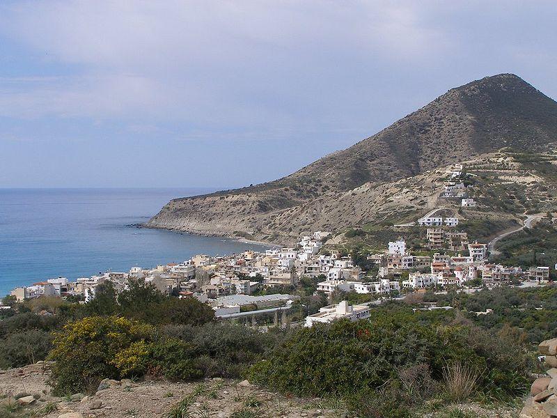 Myrtos village at the Libyan Sea in Crete, Greece