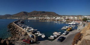 Panoramaview of the Port of Hersonissos, Crete
