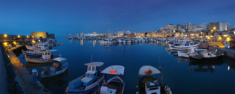 Panoramic view of the Old Harbour in Heraklion, Crete