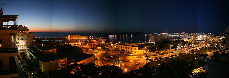 Panoramic view of the harbour, Heraklion, Crete