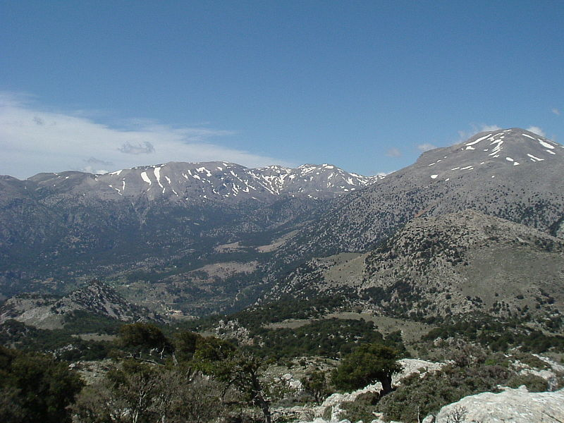 Selakano valley surrounded by the main ridge of Dikti mountain, Crete