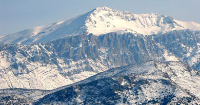 Snow covered Dikti Summit, Spathi, Crete