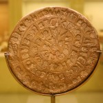 The Phaistos disk (2nd millennium BC) in Heraklion Archaeological Museum
