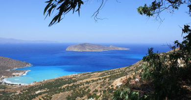 The island of Pseira from the coast near Platanos at Mirabello Bay, Crete