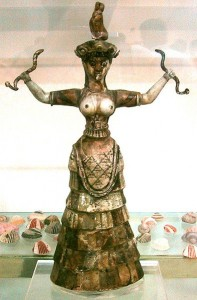 The snake goddess (c.1600 BCE) in Heraklion Archaeological Museum