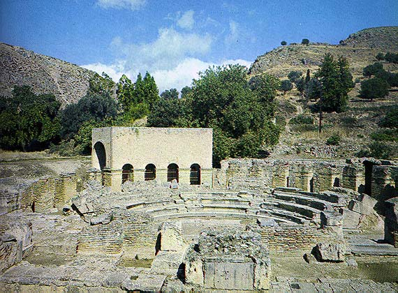 View of the roman odeion of Gortyna in the region of Heraklion, Crete