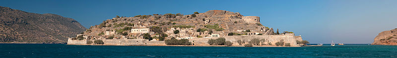 Panoramic view of the west bank of Spinalonga island, Crete