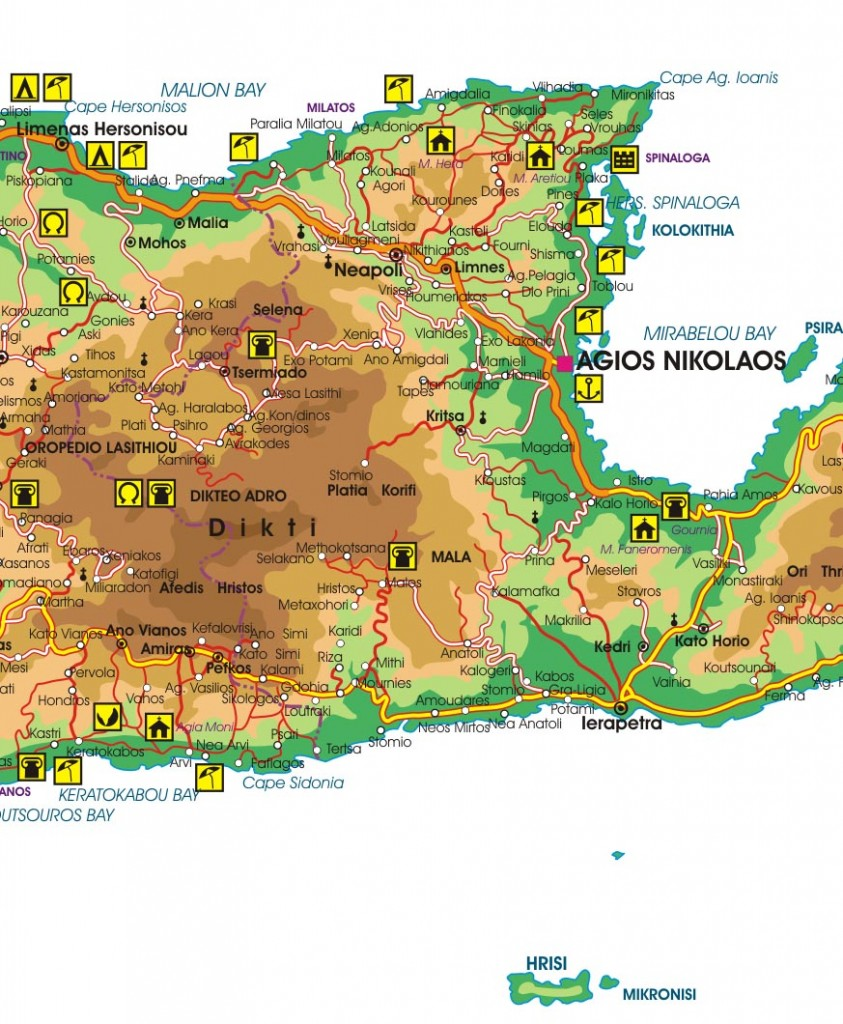 Map showing Dikti Mountain, Lassithi Plateau and Mirabello Bay