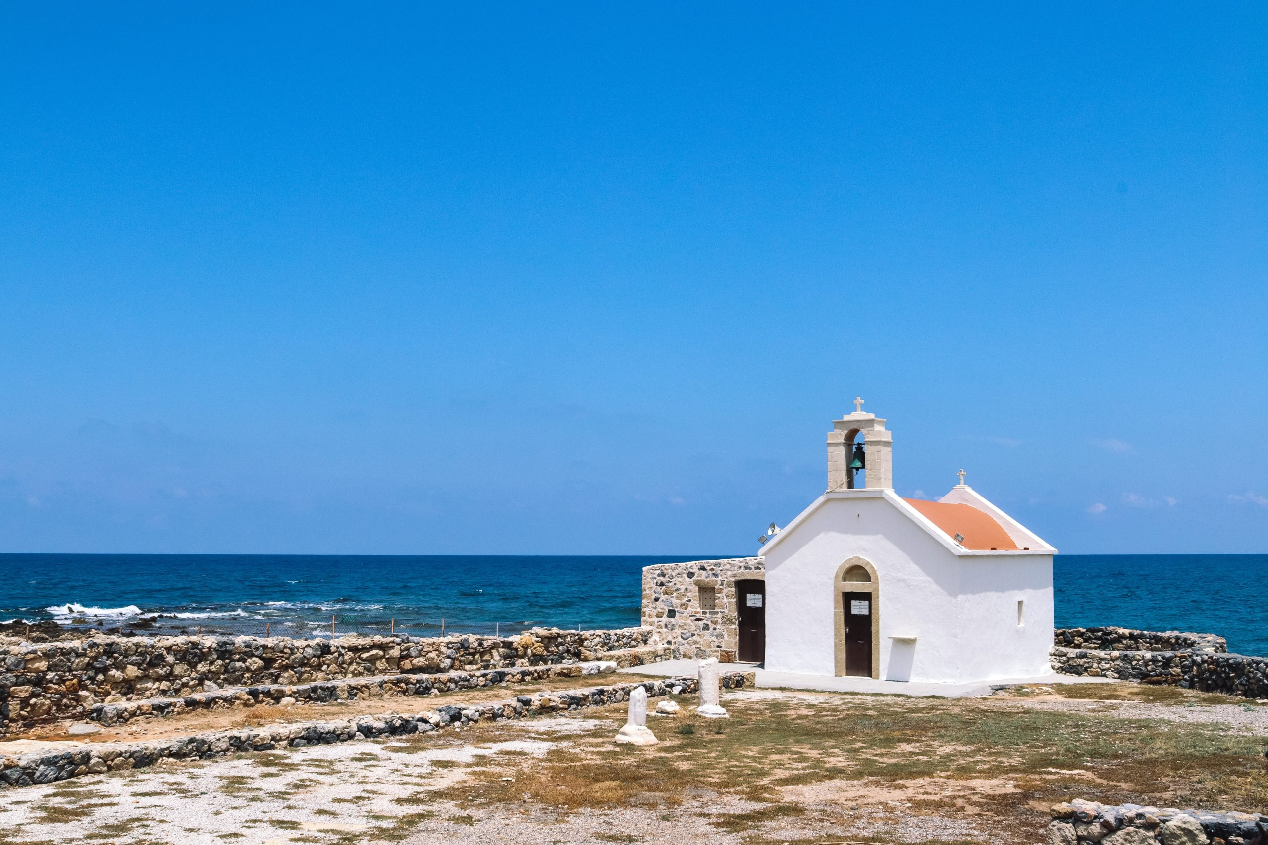 Travel to Hersonissos, Crete, church by the sea