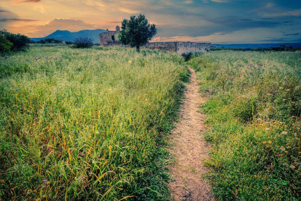 Walking path in Lassithi region in Crete, Greece