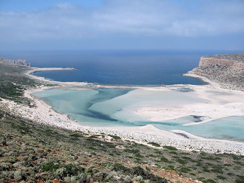 Balos Lagoon with Cap Tigani to the right, Kissamos, Crete island