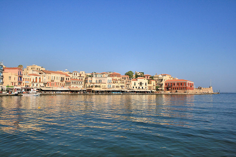 View of the Venetian port of Chania, Greece