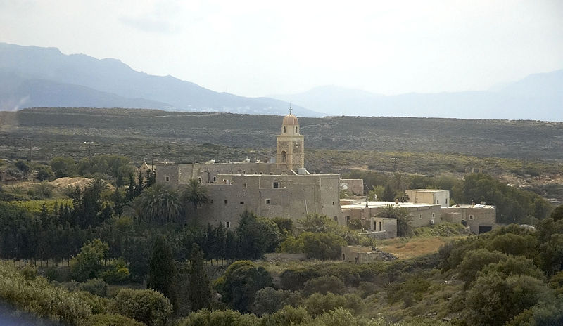 General view of Toplou monastery in Siteia, Crete