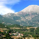 Kardaritsi village with mount Afrodisio in the background, Arkadia, Peloponnese, Greece