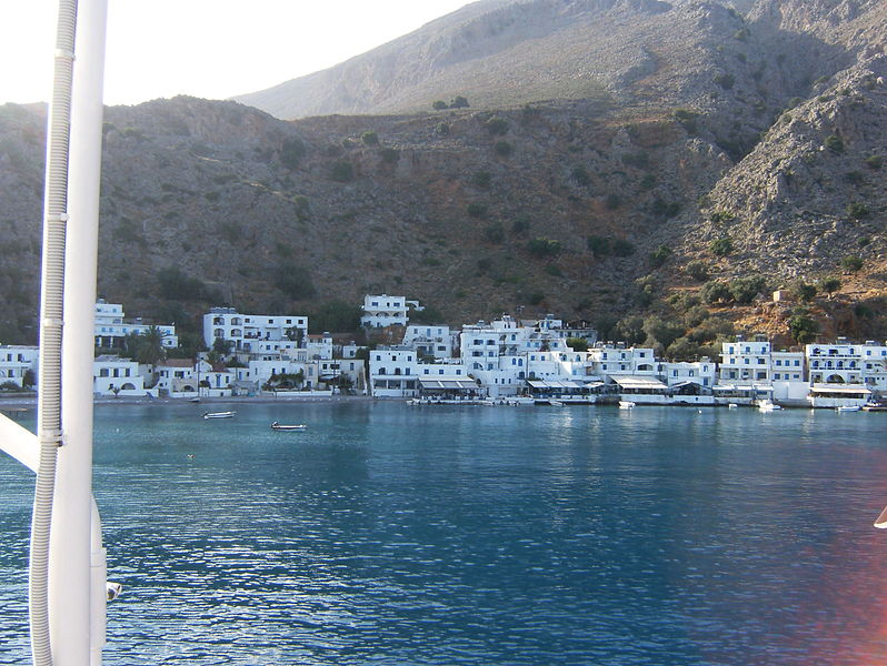 Loutro village from the ferry