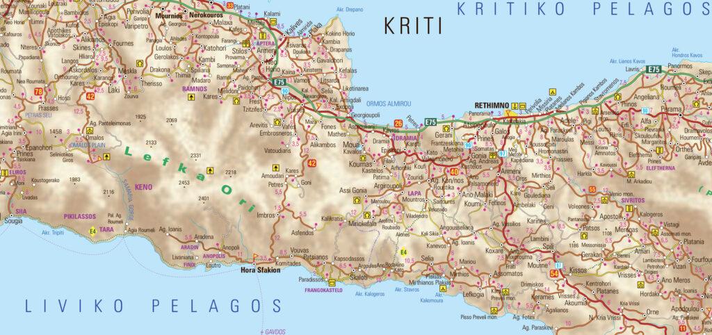 map of Rethymno region in Crete Greece