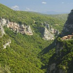 Monastery Prodromou at left, Monastery Philosophou (new) at right, Lousios Gorge, Arkadia, Peloponnese, Greece