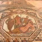 Roman floor mosaic depicting Dionysos and Ariadne in the Archaeological Museum, Chania, Crete