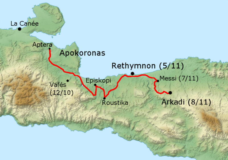 Route taken by Mustafa Pasha of Apokoronas to Arkadi Monastery, Crete